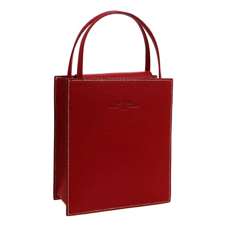 Hermes Red Leather Small Evening Top Handle Satchel Tote Bag in Box  For Sale