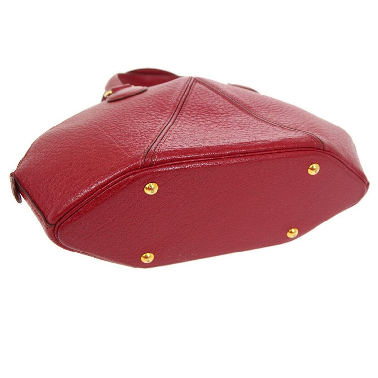 Women's Hermes Red Leather Small Round Bowling Ball Evening Gold Top Handle Satchel Bag For Sale
