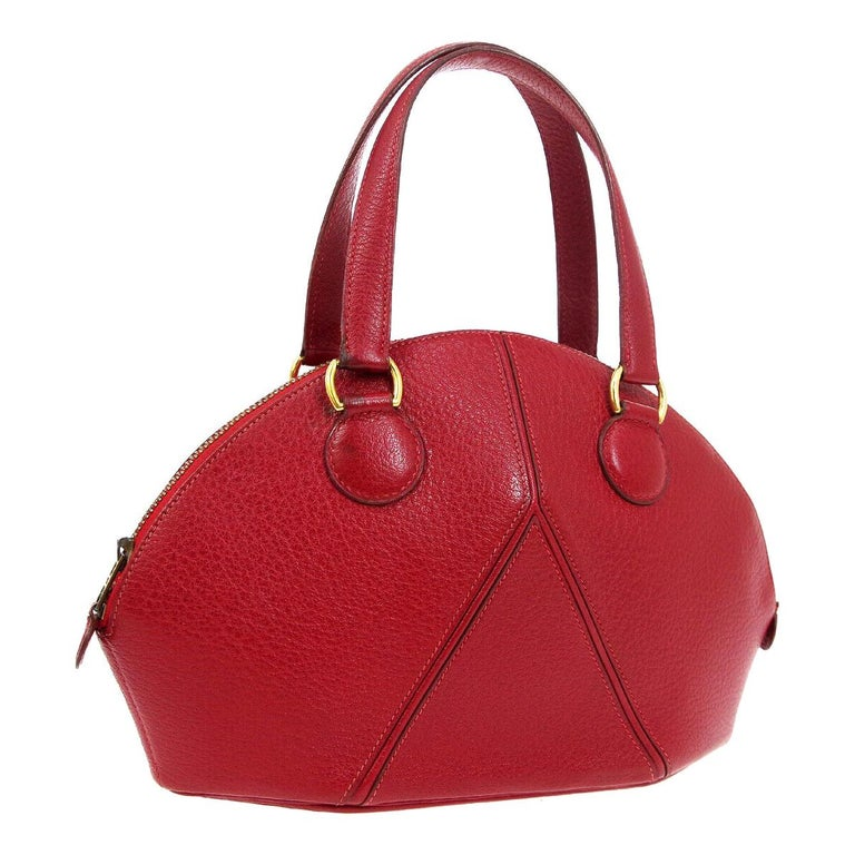Hermes Red Leather Small Round Bowling Ball Evening Gold Top Handle Satchel Bag For Sale