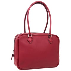 Hermes Red Leather Small Silver Evening Top Handle Satchel Bag