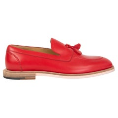 HERMES red leather TASSEL Loafers Flats Shoes 36