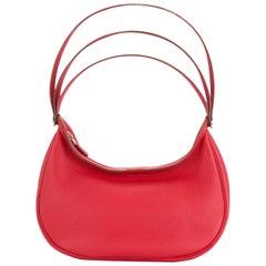 Hermes Red Leather Triple Strap Top Handle Evening Satchel Shoulder Bag