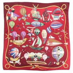 Hermes Red Les Folies du Ciel by L.Dibigeon Silk Scarf