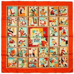 Hermès Red Les Petits Metiers de Paris 90 cm Silk Scarf