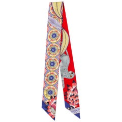 HERMES red & lilac silk THE SAVABA DANCE TWILLY Scarf