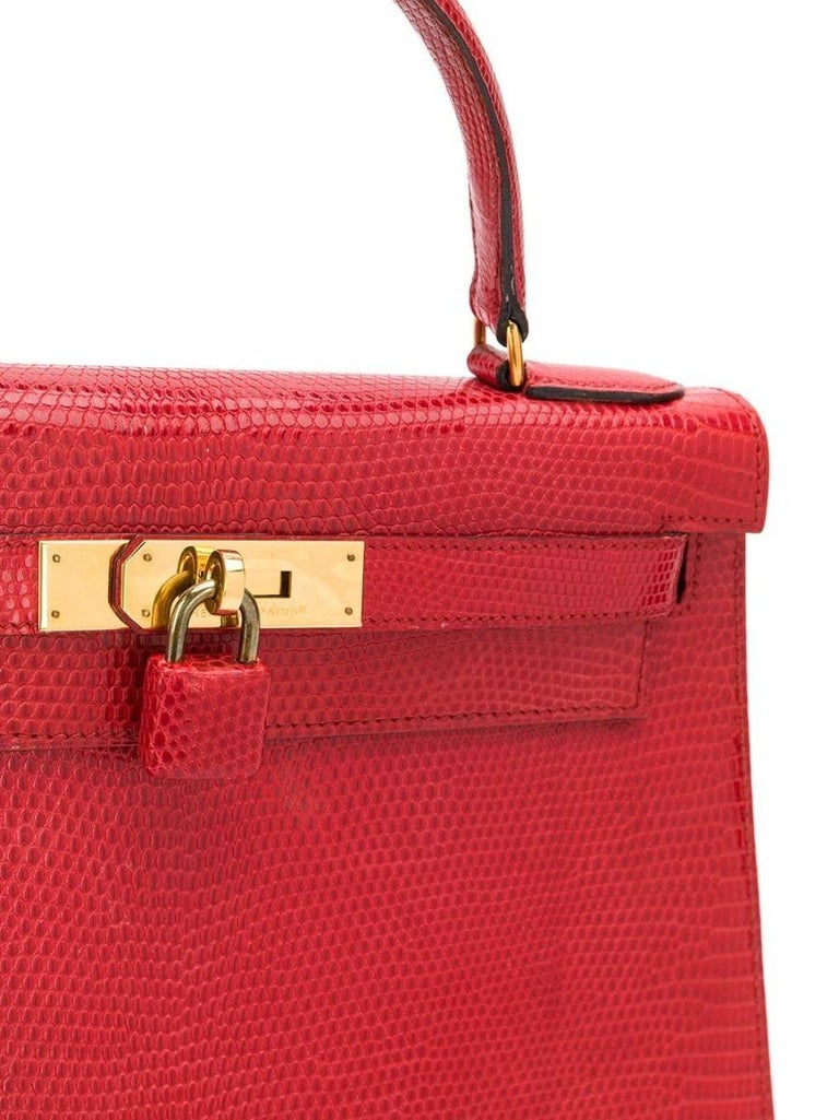 Hermès Red Lizard 28 cm Kelly Sellier Bag In Excellent Condition For Sale In London, GB