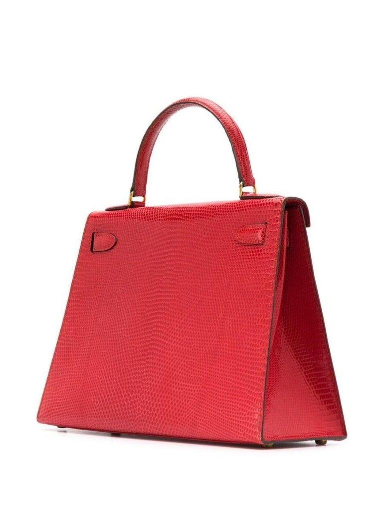 Women's Hermès Red Lizard 28 cm Kelly Sellier Bag For Sale