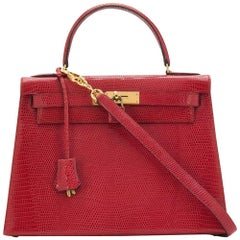 Hermès Red Lizard 28 cm Kelly Sellier Bag