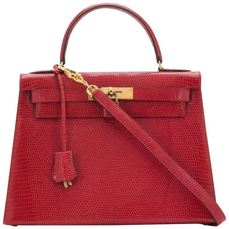 Hermès Red Lizard 28 cm Kelly Sellier Bag For Sale
