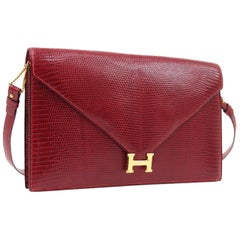 "Hermes Red Lizard Exotic Gold 'H"" Logo Evening 2 in 1 Shoulder Flap Clutch Bag"