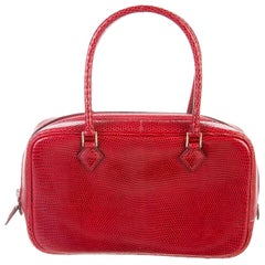 Hermes Red Lizard Exotic Leather Mini Plume Top Handle Evening Bag in Box