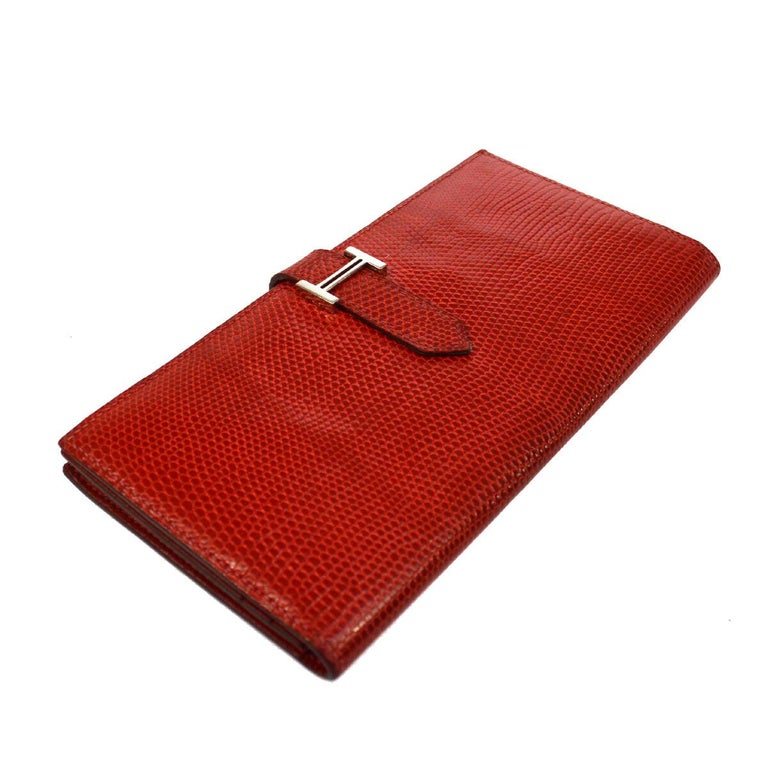 Hermes Red Lizard Exotic Skin Palladium 'H' Clutch Wallet in Box In Good Condition In Chicago, IL
