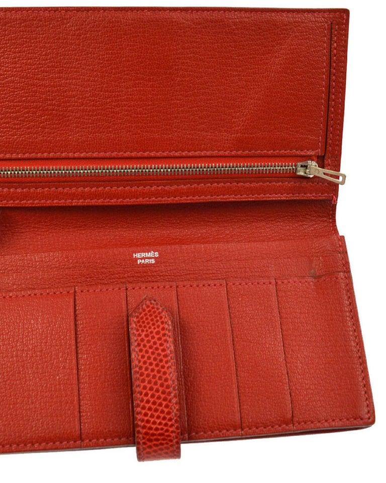 Women's Hermes Red Lizard Exotic Skin Palladium 'H' Clutch Wallet in Box