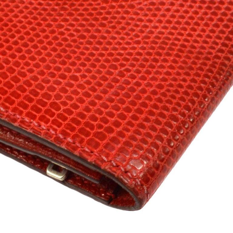 Hermes Red Lizard Exotic Skin Palladium 'H' Clutch Wallet in Box 1