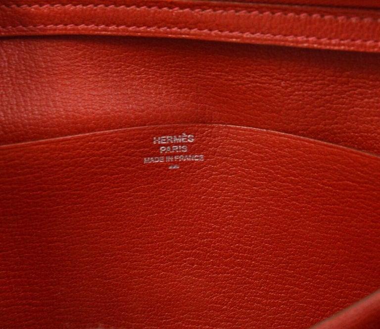 Hermes Red Lizard Exotic Skin Palladium 'H' Clutch Wallet in Box 2