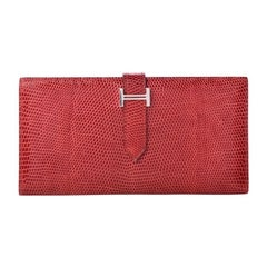 Hermes Red Lizard Exotic Skin Palladium 'H' Clutch Wallet in Box
