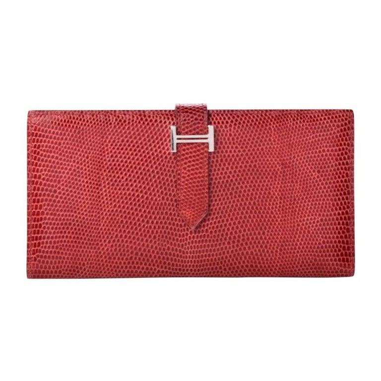 Hermes Red Lizard Exotic Skin Palladium 'H' Clutch Wallet in Box