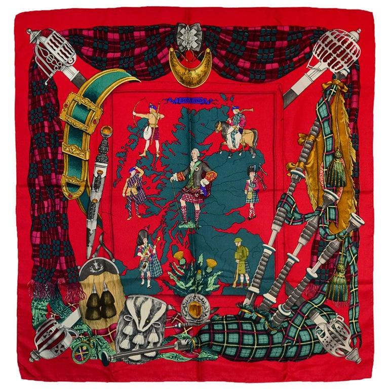 """Hermes Red/ Multi-Colored """"Scotland"""" 90cm Silk Scarf For Sale"""