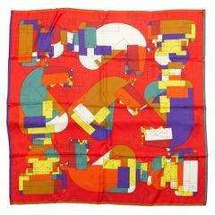 Hermes Red & Multicolor Echec Au Roi Silk Scarf