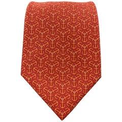 HERMES Red & Orange Anchor Print Silk Tie 7128 FA