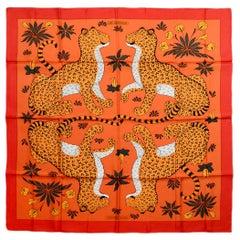 Hermes Red/Orange Les Leopards by Christiane Vauzelles Silk Scarf