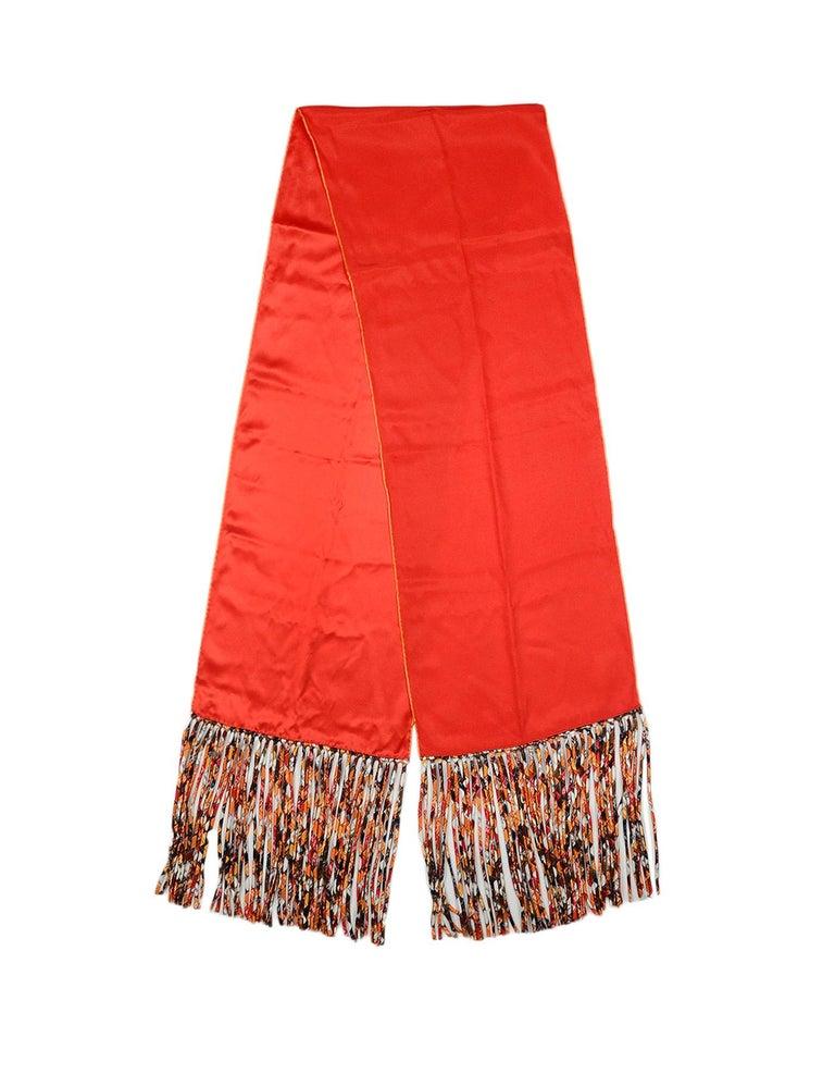 d62bd99bf31 Hermes Red Orange Multicolor Bolduc au Carre Silk Fringe Stole For Sale