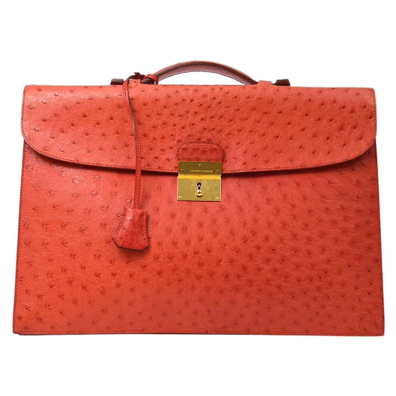 Hermes Red Ostrich Exotic Gold Top Handle Satchel Men's Women's Briefcase Bag