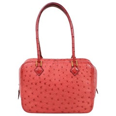 Hermes Red Ostrich Exotic Leather Gold Mini Plume Top Handle Satchel Evening Bag