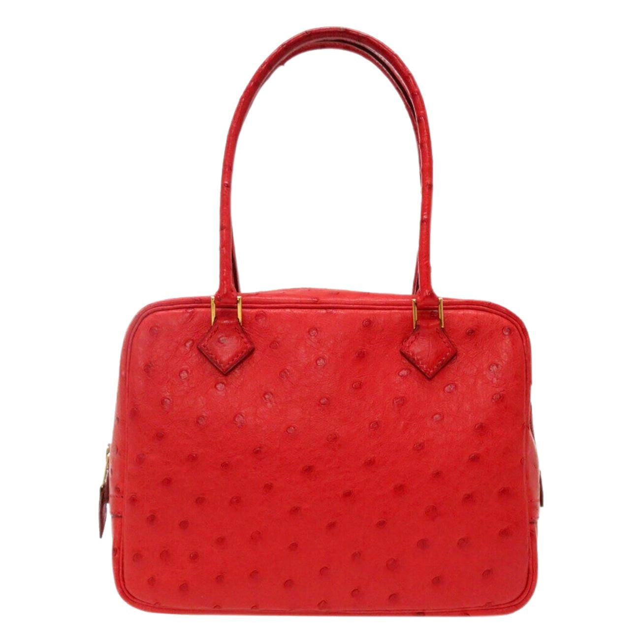 Hermes Red Ostrich Leather Exotic Skin Gold Evening Top Handle Satchel Bag