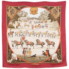 "Hermes Red ""Presentation de Chevaux""  Silk Scarf by Ledoux"