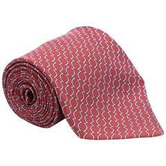 Hermes Red Printed Silk Tie