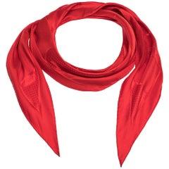 Hermes Red Quadrige Silk Jacquard Losange Scarf