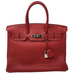 Hermes Red Rouge Garance Birkin 35