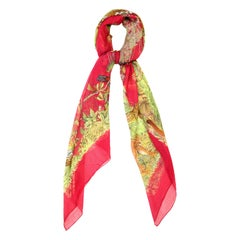 "Hermes Red Sheer Silk Equateur 53"" Mousseline Scarf rt. $920"