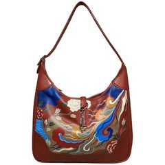 Hermes Red Swift Leather Trim Bag Hand Painted