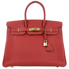 Hermès Red Togo 35 cm Birkin Bag with Gold HW