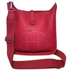 Hermes Red Togo Evelyne PM III Crossbody Shoulder Bag