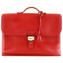 Hermès Red Togo Leather Briefcase