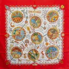 Hermes red white ESCALES MEDITERRANEENNES 90 Scarf silk