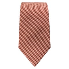 HERMES Red & White Houndstooth Silk Tie
