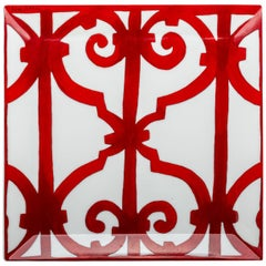 Hermes Red & White Square Plate