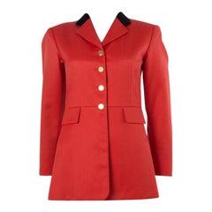 HERMES red wool LONG CLASSIC EQUESTRIAN Blazer Jacket 36 XS