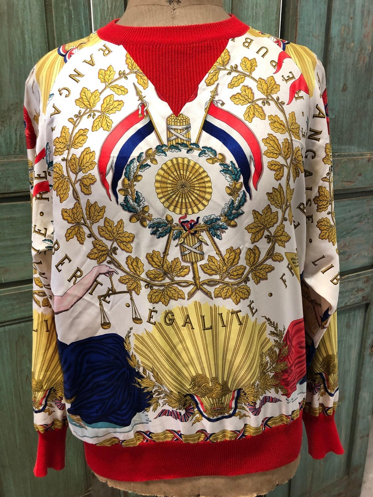 Hermes République Francaise Liberté Égalité Fraternité  1789 Silk Twill Wool Knit Trim Shirt Sweater. Original silk screen design c1989 by Joachim Metz was created to celebrate the 200th year anniversary of the French Republic.
