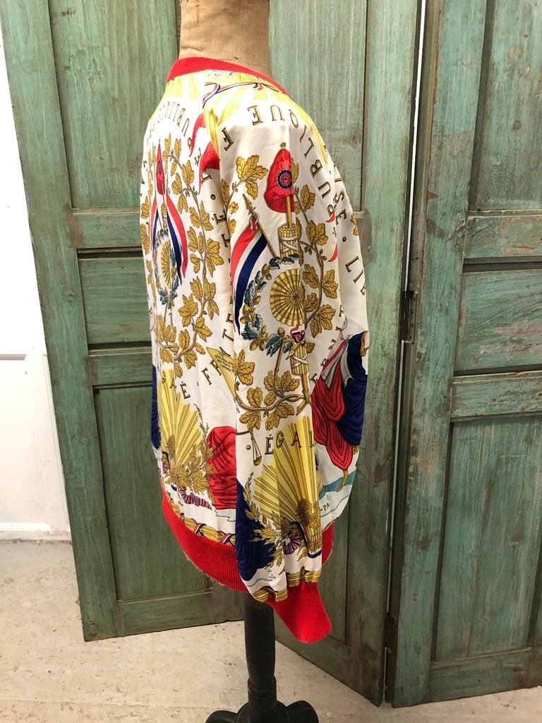 Women's Hermes République Francaise Liberté Égalité Fraternité 1789 Silk Sweater For Sale