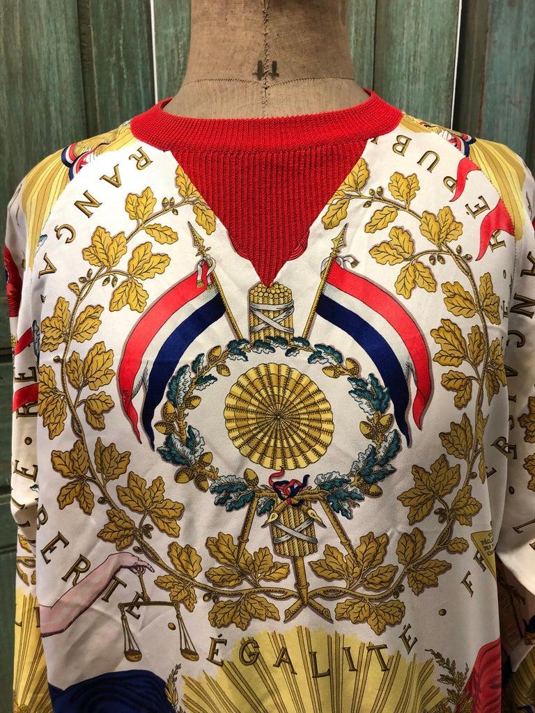Hermes République Francaise Liberté Égalité Fraternité 1789 Silk Sweater For Sale 1