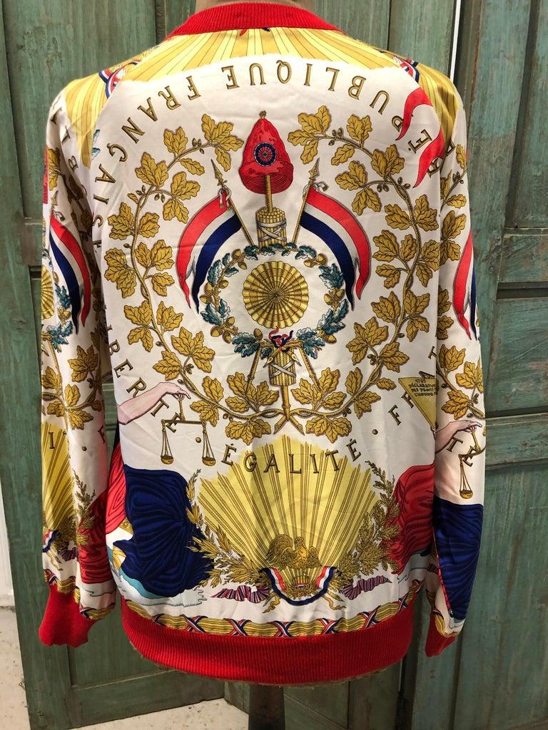 Hermes République Francaise Liberté Égalité Fraternité 1789 Silk Sweater For Sale 2