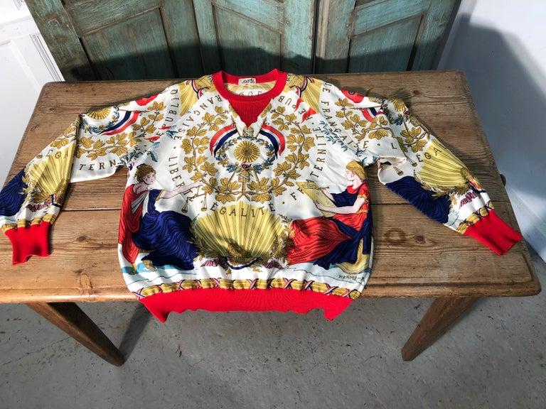 Hermes République Francaise Liberté Égalité Fraternité 1789 Silk Sweater For Sale 3