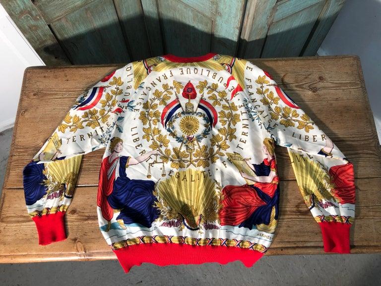 Hermes République Francaise Liberté Égalité Fraternité 1789 Silk Sweater For Sale 4