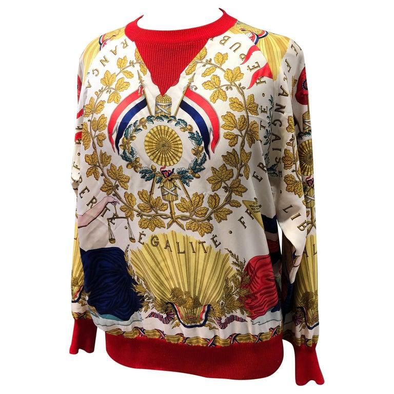 Hermes République Francaise Liberté Égalité Fraternité 1789 Silk Sweater For Sale