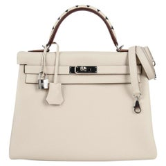 Hermes Retourne Au Galop Craie Togo Palladium Limited Edition Kelly 32 Bag